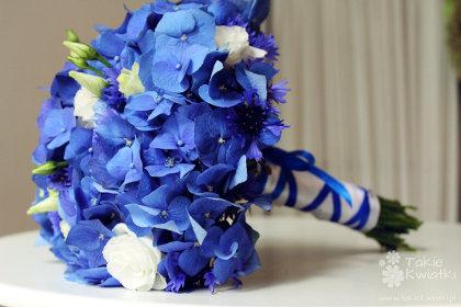Hortensja niebieska bukiet ślubny